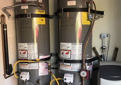 50 Gal Rheem Water with Circulating Pump and new wood platform. Also new 1 cu ft Water Softener installation. City of Newport, CA.
