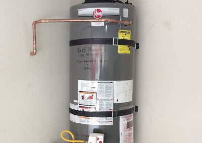50 Gal Rheem Water Heater change out with Power Vent and new wood floor. City of Fullerton, CA.